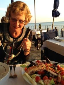 Sandra enjoying her dinner at the Belforte