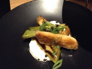 Leeks with goat's cheese